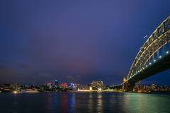 The view of Luna Park and Sydney Harbour bridge on a clear night Royalty Free Stock Images