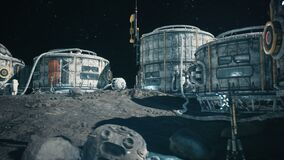 View of the lunar surface, lunar colony and astronauts working at the lunar base next to the lunar rover. Animation for