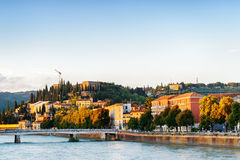 View of Lungadige Re Teodorico at historic centre of Verona Royalty Free Stock Photo