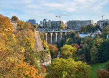 Luxembourg city in autumn evening Stock Images