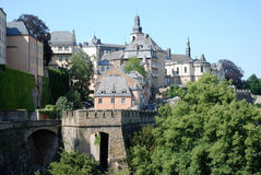 View luxembourg city - old town with city wall Royalty Free Stock Image