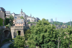 View luxembourg city - old town with city wall Royalty Free Stock Photos