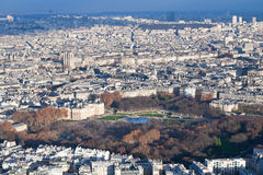 View on Luxembourg gardens and panorama of Paris. In winter afternoon Stock Image