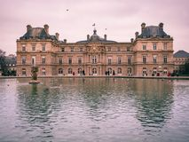 View of the Luxembourg palace, inside the public garden of Luxembourgh, one of the largest in Paris. Paris, France - January 7, 2018: View of the Luxembourg royalty free stock images