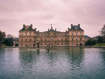 View of the Luxembourg palace, inside the public garden of Luxembourgh, one of the largest in Paris. Paris, France - January 7, 2018: View of the Luxembourg stock photos