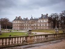 View of the Luxembourg palace, inside the public garden of Luxembourgh, one of the largest in Paris. View of the Luxembourg palace, inside the public garden of royalty free stock photos