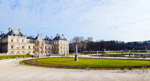 View of Luxembourg Palace in Paris in early spring. PARIS, FRANCE - MARCH 5: panorama of Luxembourg Palace and Gardens in Paris on March 5, 2013. Jardin du Royalty Free Stock Photography
