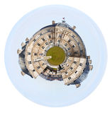View of Luxembourg Palace in Paris. Little planet - urban spherical view of Luxembourg Palace in Paris isolated on white background royalty free stock images