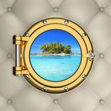 View through the luxurious boat window Royalty Free Stock Photo