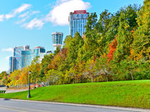 View of the luxurious hotels in autumn next to Niagara Falls Royalty Free Stock Image
