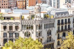 Barcelona city view. View on the luxurious residential old buildings on Gracia avenue in Barcelona city stock photo