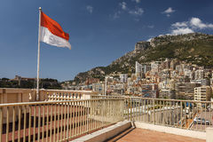 View of luxury apartments of and flag Monaco, Cote d'Azuz Stock Photography