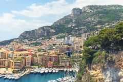 View of Luxury apartments and harbor with luxury yachts in the bay, Monte Carlo, Monaco Royalty Free Stock Image