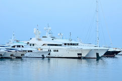 View of the luxury boats in the marina. Marina of Greece in central city Piraeus Royalty Free Stock Photography