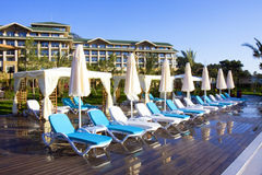 View with luxury hotel with pool in Kemer, Antalya Stock Photos