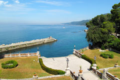 View on luxury port and seashore from Miramare Castle Royalty Free Stock Photos