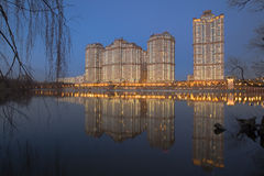 View on luxury residential complex Alie Parusa. (Red Sails) from river side, Moscow Stock Photography