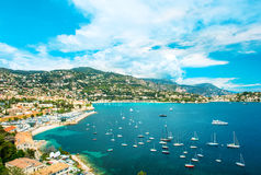 View of luxury resort and bay of Cote d'Azur. french riviera. View of luxury resort and bay of Cote d'Azur. Villefranche near Nice and Monaco, french riviera Stock Photography