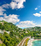 View of luxury resort and bay. french riviera Stock Photos