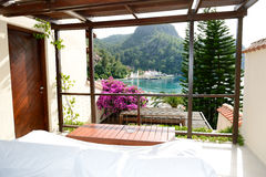 View from the luxury villa on beach. Fethiye, Turkey stock photography