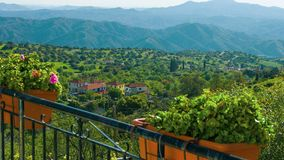 View from luxury villa. Beautiful nature, mountains on horizon. Green tourism. Stock footage stock video footage