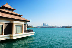 The view from luxury villa on Palm Jumeirah man-made island Stock Photos