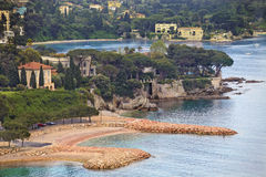 View of luxury Villefranche resort and bay. Cote d. Summer view of French riviera coastline, Cote d'Azur Stock Image
