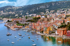 View of luxury Villefranche Sur Mer resort and bay. Summer view of French riviera coastline, Cote d'Azur Stock Photo