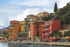 View of luxury Villefranche Sur Mer resort and bay. Summer view of French riviera coastline, Cote d'Azur Royalty Free Stock Photography