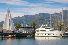 View of luxury yacht marina in Adriatic - Porto Montenegro . Tivat, Montenegro Royalty Free Stock Image