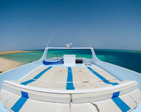 View from a luxury yacht on the red sea. View from the deck of a luxury yacht on the red sea, made with a fish eye lense Stock Photo