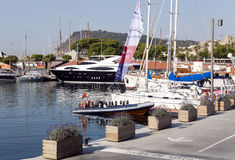 View of luxury yachts at Port Olympic in Barcelona Royalty Free Stock Photo