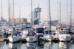 View of luxury yachts at Port Olympic in Barcelona Royalty Free Stock Image