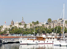 View of luxury yachts at Port Olympic in Barcelona Stock Images
