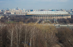 View of the Luzhniki from Sparrow Hills, Moscow, Russia Royalty Free Stock Photos