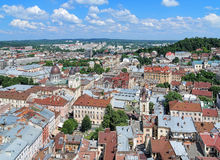 View of Lviv from the tower of City Hall, Ukraine Stock Photography
