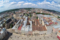 View of Lviv from the tower of Lviv City Hall Stock Photos