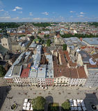 View of Lviv from the tower of Lviv City Hall Royalty Free Stock Photos
