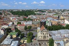 View of Lviv from the tower of Lviv City Hall, Ukraine Royalty Free Stock Photo