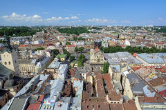 View of Lviv from the tower of Lviv City Hall, Ukraine Royalty Free Stock Photos