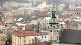 View on Lviv, Ukraine stock footage