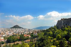 Lycabettus view in Athens royalty free stock image