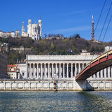 View of Lyon with basilica and courthouse Royalty Free Stock Image