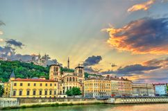 View of the Lyon Cathedral and the Basilica of Notre-Dame de Fourviere. Lyon, France stock image