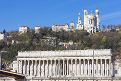 View of Lyon with cathedrale and courthouse Stock Photo