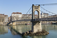 View of Lyon city from Passerelle du College footbridge on Saone river Stock Image