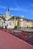 View of Lyon city and red footbridge Royalty Free Stock Photos