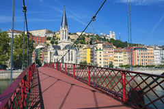 View of Lyon city from red footbridge Stock Image