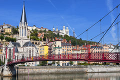 View of Lyon city and red footbridge Stock Photography