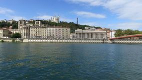Lyon, Fourviere Hill and saone river stock video